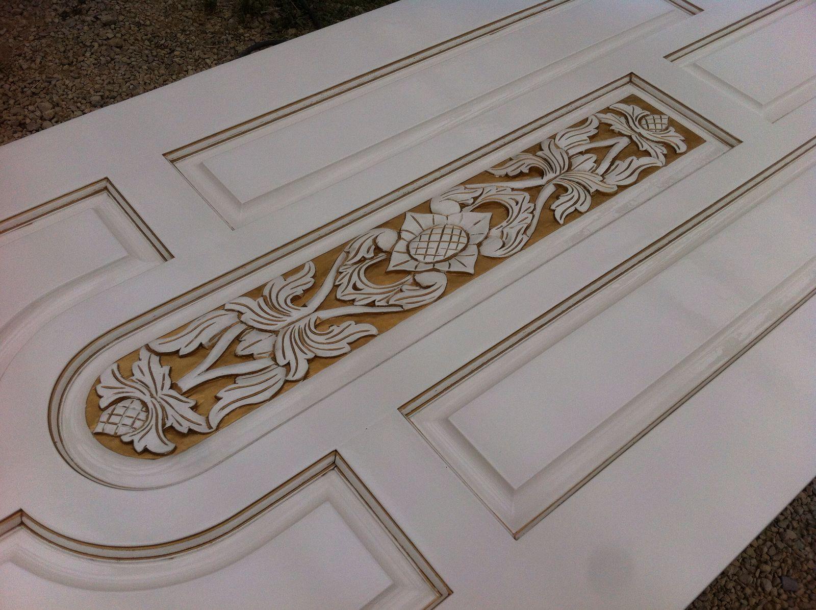 Покраска двери Ral9010+патинирование
