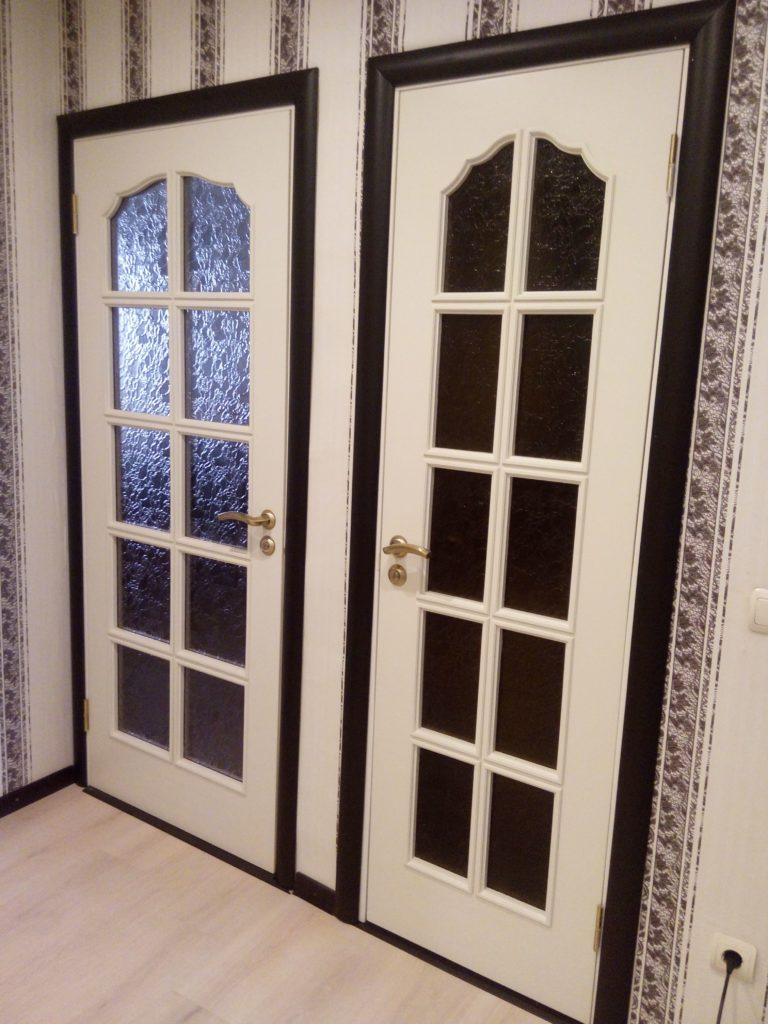 Покраска дверей Ral9010, массив сосны